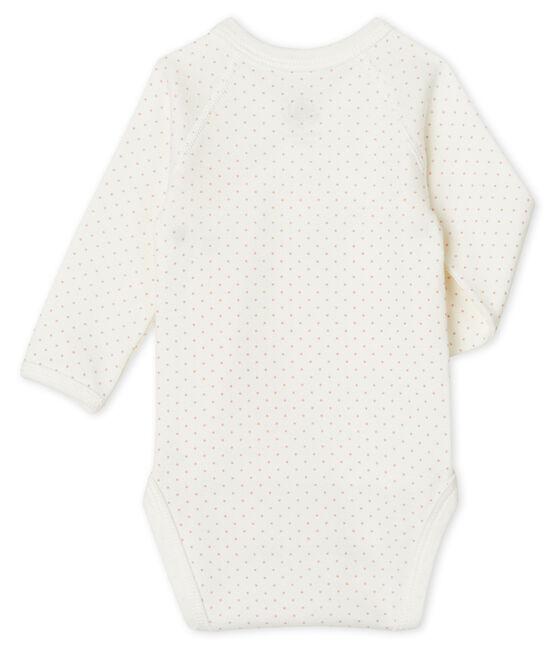 Body de nacimiento manga larga para bebé blanco Marshmallow / rosa Charme