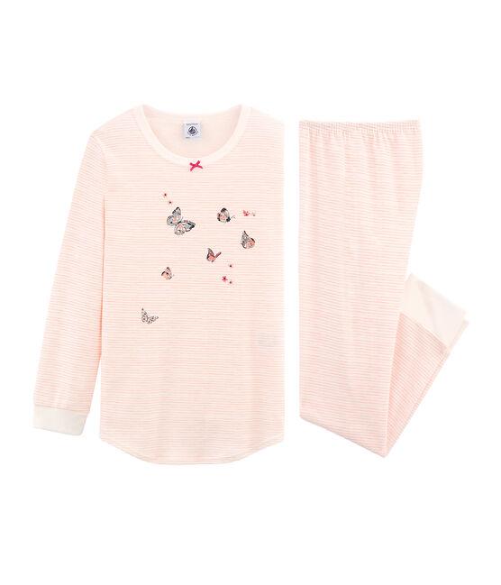 Pijama de algodón infantil para niña blanco Marshmallow / rosa Rosako