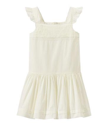 Vestido de cerimonía de niña mix encaje y algodón.