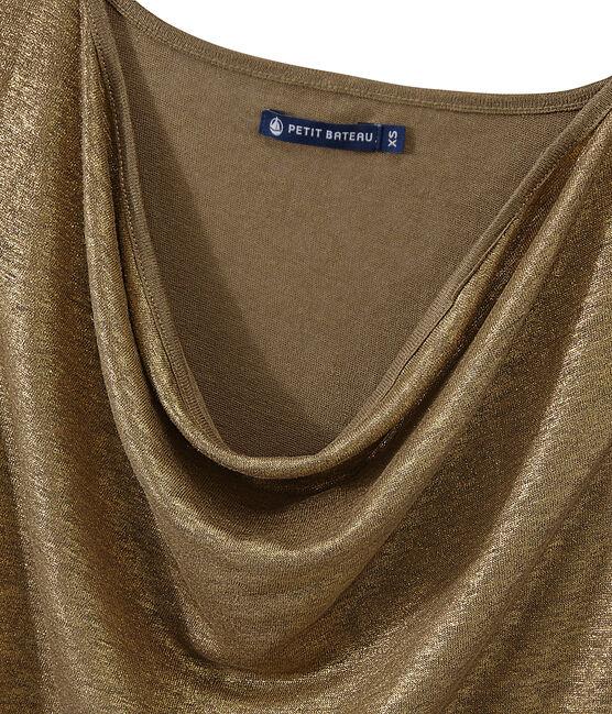 Camiseta sin mangas de lino para mujer marrón Shitake / amarillo Or