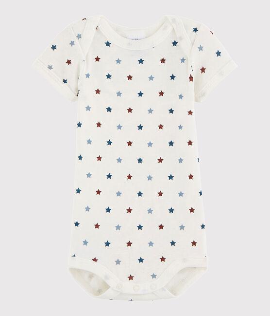 Bodi de manga corta de bebé niña/niño blanco Marshmallow / blanco Multico
