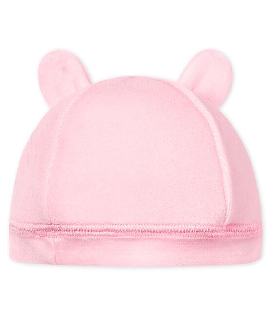 Gorro nacimiento de terciopelo para bebé unisex rosa Vienne
