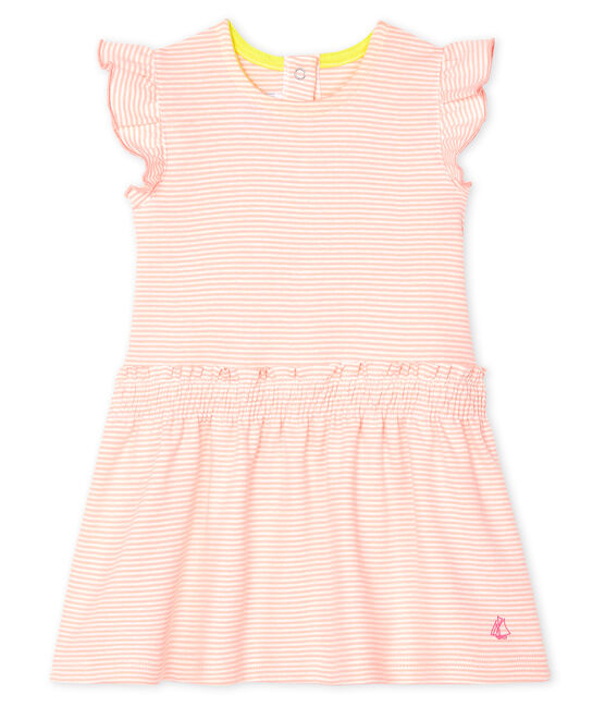 Vestido mil rayas para bebé niña rosa Patience / blanco Marshmallow