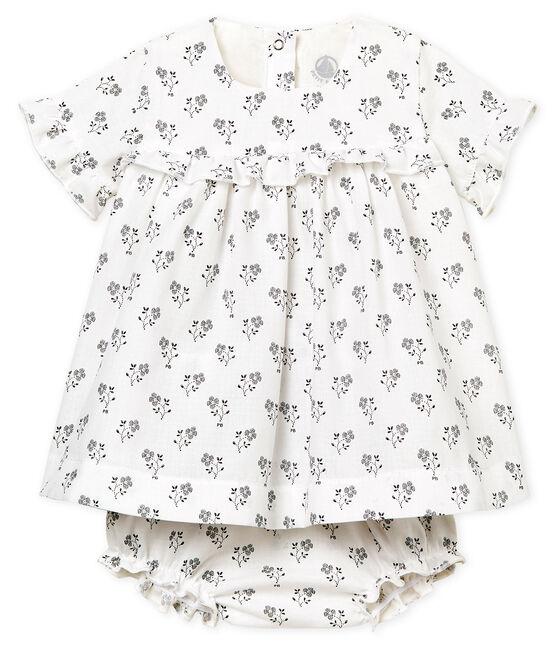 Vestido estampado y bloomer para bebé niña blanco Marshmallow / blanco Multico