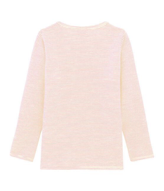 Camiseta infantil de manga larga en lana y algodón rosa Charme / blanco Marshmallow