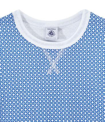 Pijama de manga corta en túbico para niño blanco Ecume / azul Perse