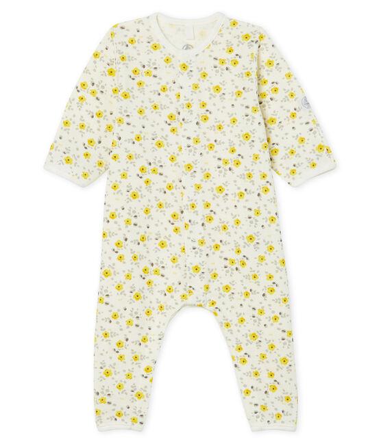 Buzo de bebé largo de lana y algodón blanco Marshmallow / blanco Multico