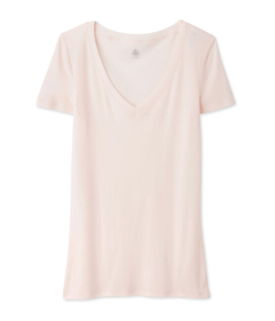 camiseta de manga corta con cuello en v de mujer rosa Fleur