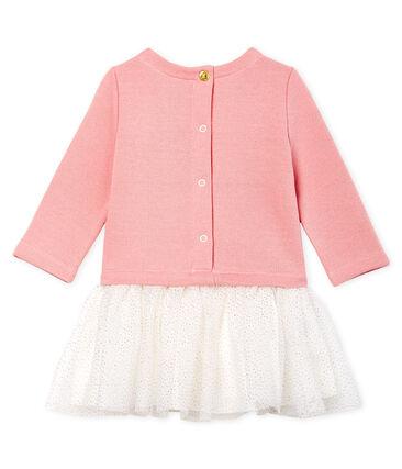 Vestido bimaterial de manga larga para bebé niña rosa Charme / blanco Multico