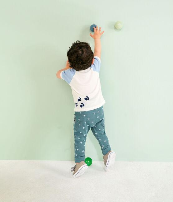 Camiseta de manga corta para bebé niño blanco Marshmallow / azul Jasmin