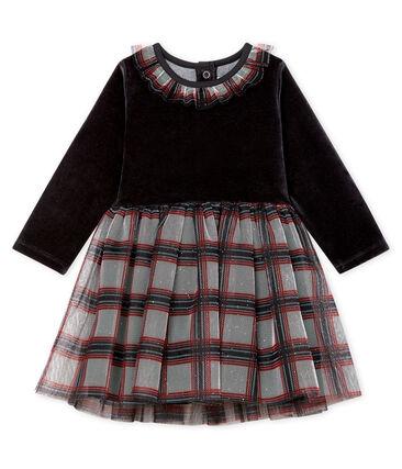 Vestido bimaterial de manga larga para bebé niña negro Noir / blanco Multico