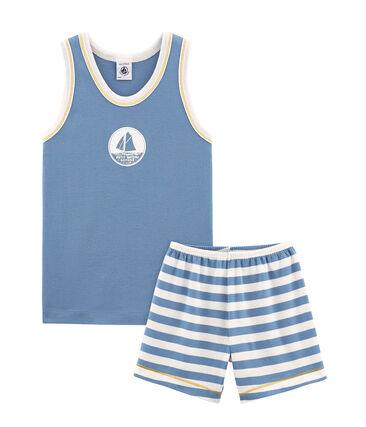 Pijama corto de punto para niño azul Alaska / blanco Marshmallow