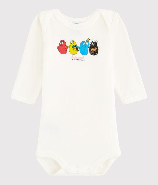 Bodi de manga larga de bebé niña/niño blanco Marshmallow / azul Bleu