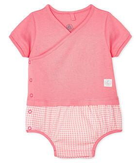 Mono corto falso dos piezas para bebé blanco Marshmallow / rosa Gretel