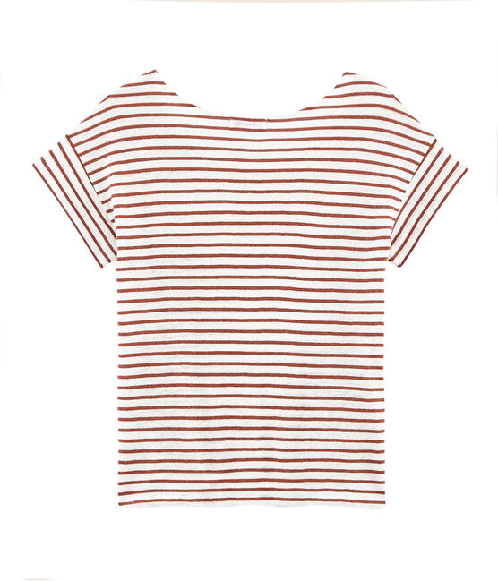 Camiseta manga corta de lino para mujer blanco Marshmallow / rosa Copper