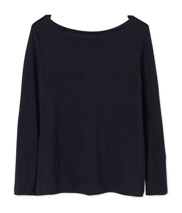 Camiseta manga larga de lino para mujer