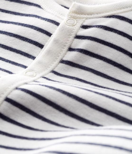 Mono saco para bebé de punto blanco Marshmallow / azul Smoking