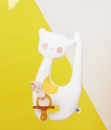 Doudou porta chupete para bebé niña en toalla de rizo blanco Marshmallow