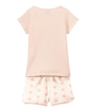 Pijama corto en dos materias para niña