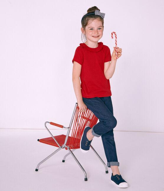 Camiseta manga corta infantil para niña rojo Terkuit