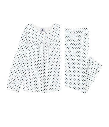 Pijama de punto para niña blanco Marshmallow / azul Contes