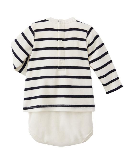 Body-camiseta rayado de bebé beige Coquille / azul Abysse
