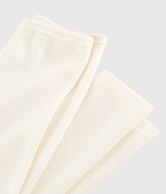 Leggings infantiles lisos de lana y algodón beige Ecru