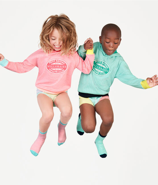 Sudadera infantil con capucha de punto verde Esperanza / blanco Marshmallow