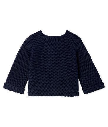 Cárdigan de lana y algodón de punto musgo para bebé niña azul Smoking