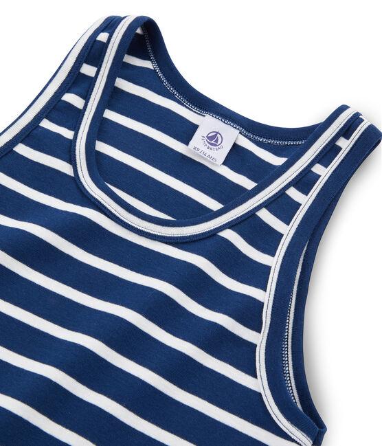 Camiseta de tirantes icónica para mujer azul Medieval / blanco Marshmallow