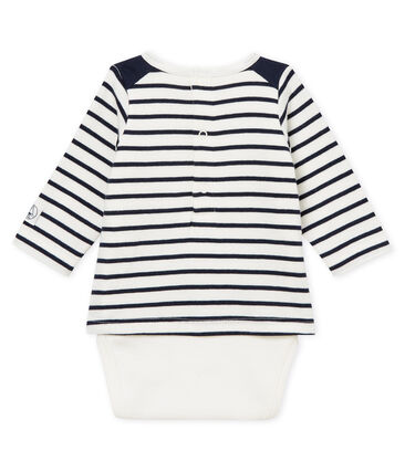 Body camiseta de rayas para bebé niño blanco Marshmallow / azul Smoking