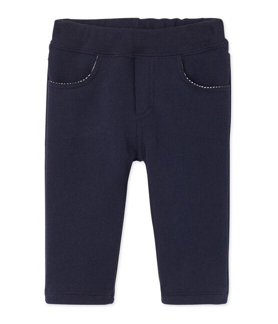 Pantalón para bebé niño en muletón azul Smoking