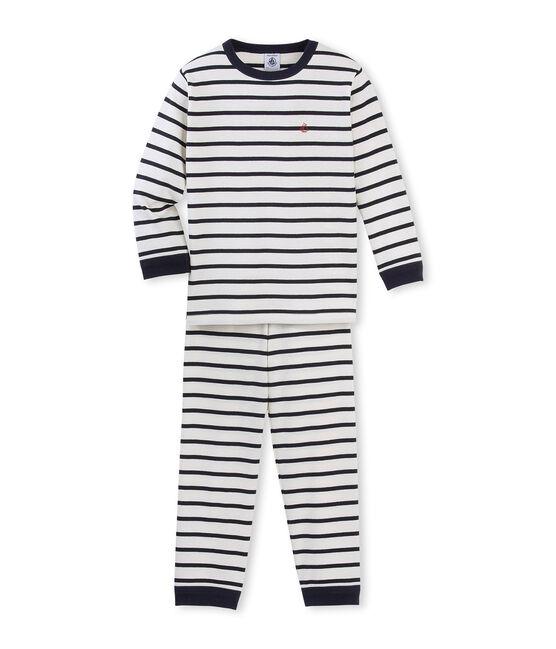 Pijama de punto para niño beige Coquille / azul Smoking