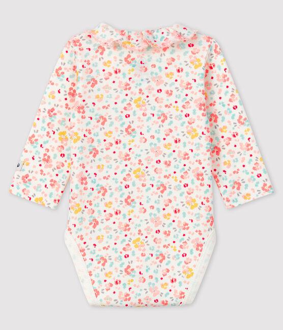Body de flores de tejido acanalado con cuello para bebé niña blanco Marshmallow / blanco Multico