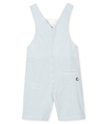 Peto corto de rayas para bebé niño azul Acier / blanco Marshmallow