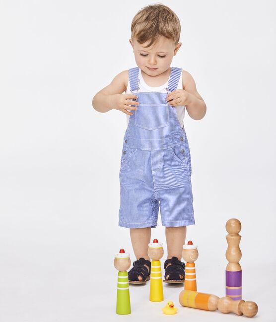 Peto corto de rayas para bebé azul Surf / blanco Ecume