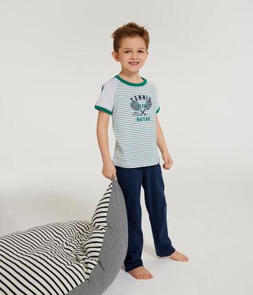 Pijama manga corta de punto para niño blanco Marshmallow / blanco Multico