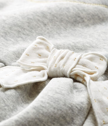 Vestido de manga larga en terciopelo para bebé niña gris Beluga / blanco Multico