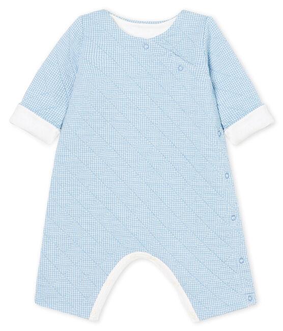 Mono largo para bebé de túbico acolchado azul Acier / blanco Marshmallow
