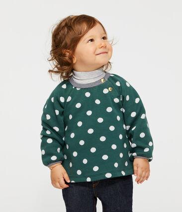 Blusa de manga larga estampada para bebé niña verde Sousbois / blanco Marshmallow