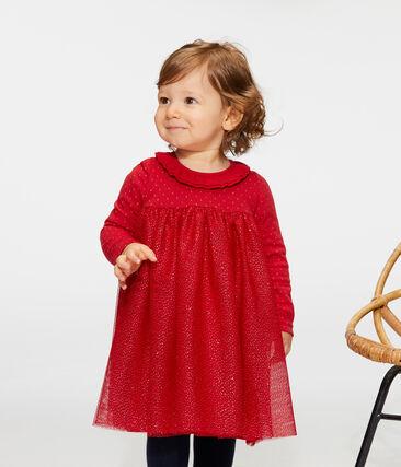 Vestido bimaterial de manga larga para bebé niña rojo Terkuit / amarillo Or