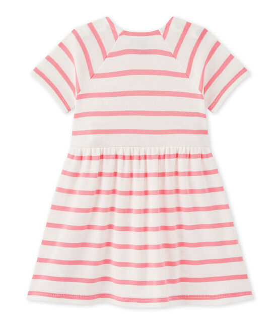 vestido para bebé niña a rayas blanco Marshmallow / rosa Petal