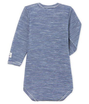 Body de manga larga para bebé de lana y algodón azul Medieval / blanco Marshmallow