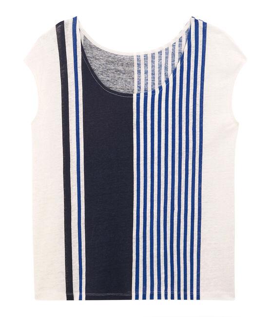 Camiseta manga corta de lino para mujer blanco Marshmallow / blanco Multico