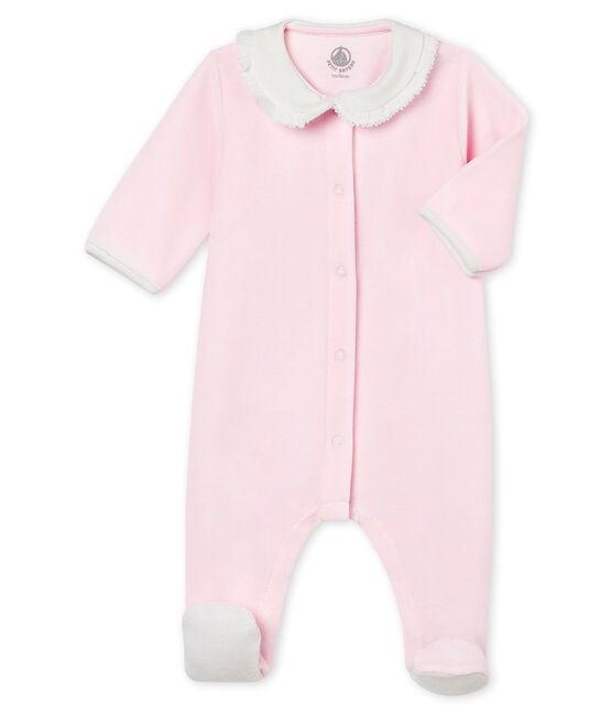 Pijama para bebé niña de terciopelo de algodón liso rosa Vienne