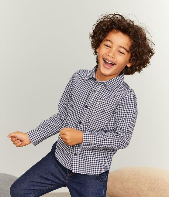 Camisa de cuadros para niño azul Medieval / blanco Lait