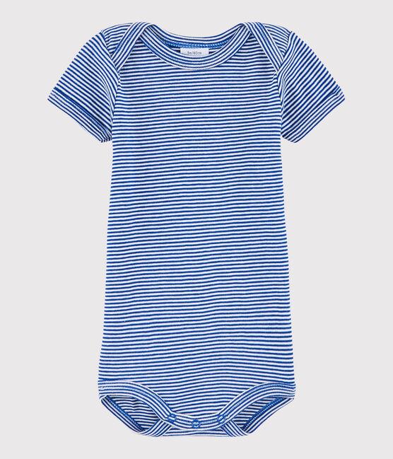 Bodi de manga corta de bebé niño azul Surf / blanco Lait