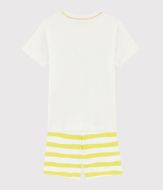 Pijama corto con dibujo de perezoso de niño de punto blanco Marshmallow / amarillo Ble