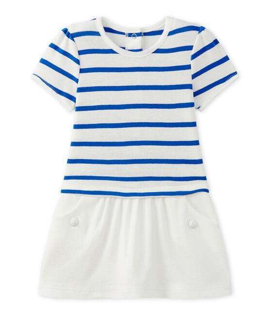 Vestido de bebé niña con mangas cortas blanco Marshmallow / azul Perse