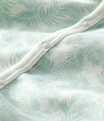 Pelele corto de punto para bebé de niño blanco Marshmallow / azul Crystal